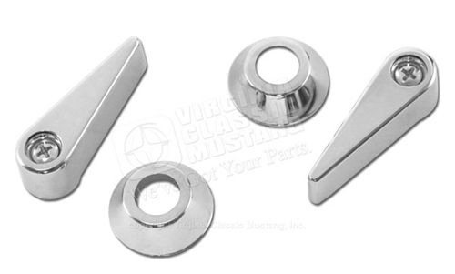 70 FRONT SEAT LATCH CHROME HANDLE SET WITH BEZELS AND SCREWS