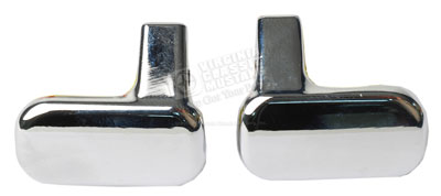 72-73 FRONT SEAT LATCH CHROME HANDLE SET WITH SET SCREWS - PAIR