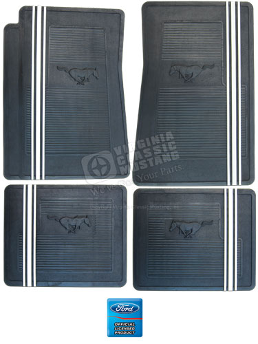 Mustang Rubber Floor Mat Set - Running Horse - Black with White Racing Stripe