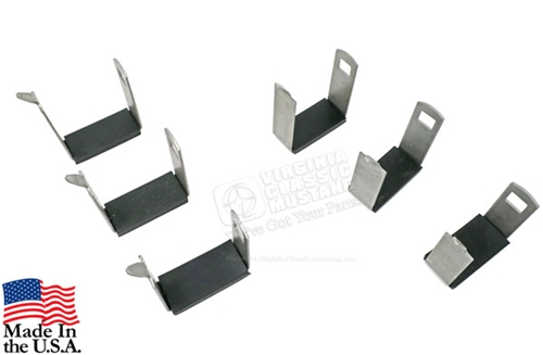 65-73 Mustang Rear Leaf Spring Band Clamps with Rubber Insulators - Square Hole Style - Set of 6