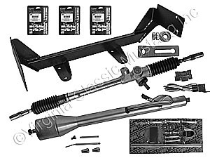65-70 RACK AND PINION STEERING CONVERSION KIT WITH PAINTABLE STEEL TILT COLUMN-V8 MODEL