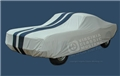 65-68 FASTBACK SATIN STRETCH CAR COVER WHITE W/ DARK BLUE LEMANS STRIPES