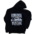 Virginia Mustang Hoodie with 1965 GT350 Shelby Design - Black