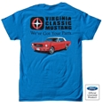VIRGINIA CLASSIC MUSTANG T-SHIRT WITH 1965 MUSTANG CONVERTIBLE DESIGN LOGO *SPECIFY SIZE*