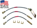 "65-66 BRAIDED BRAKE HOSE SET-2 FRONT DISC HOSES (FOR 3/8"" INLETS) AND DUAL EXHAUST REAR DRUM HOSE"