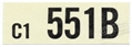 64 1/2 289-4V MANUAL TRANS ENGINE CODE DECAL 551B