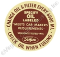64-67 OIL FILLER CAP DECAL