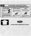 64-70 SUNVISOR STARTING INSTRUCTION SLEEVE