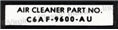 66 AIR CLEANER PART NUMBER DECAL