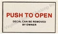 "65-66 CONSOLE DOOR ""PUSH TO OPEN"" DECAL"
