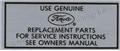64 1/2-65 V8 SILVER AIR CLEANER SERVICE INSTRUCTION DECAL