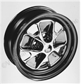 67 BLACK RIM STYLED STEEL WHEEL-14 X 5 1/2 (STOCK SIZE)