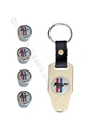 MUSTANG LOGO VALVE STEM CAP SET WITH KEYCHAIN