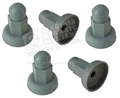 65-66 FASTBACK TRUNK REAR TRIM SCREW PROTECTOR CAPS - SET OF 5 - GRAY