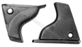 69-70 FASTBACK INTERIOR QUARTER REAR TRIM CAPS-PAIR  BLACK PAINTABLE PLASTIC