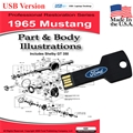 1965 Mustang Parts and Body Illustrations USB Drive