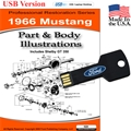 1966 Mustang Parts and Body Illustrations USB Drive