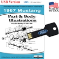 1967 Mustang Parts and Body Illustrations USB Drive
