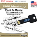 1968 Mustang Parts and Body Illustrations USB Drive