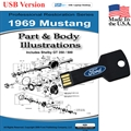 1969 Mustang Parts and Body Illustrations USB Drive