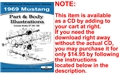1969 MUSTANG PARTS AND BODY ILLUSTRATIONS ON CD