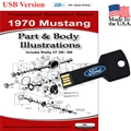 1970 Mustang Parts and Body Illustrations USB Drive