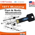 1971 Mustang Parts and Body Illustrations USB Drive