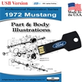 1972 Mustang Parts and Body Illustrations USB Drive