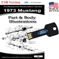 1973 Mustang Parts and Body Illustrations USB Drive
