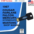 1967 Shop Manual USB Drive Covers Mustang Cougar Falcon and Fairlane