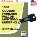 1968 Shop Manual USB Drive Covers Mustang Cougar Falcon Fairlane and Montego