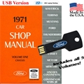 1971 Ford Shop Manual USB Drive