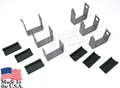 65-73 Mustang Rear Leaf Spring Band Clamps with Rubber Insulators - Round Hole Style - Set of 6