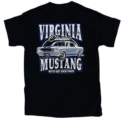 Virginia Mustang T-Shirt with 1965 GT350 Shelby Design - Black