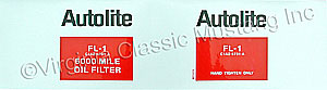 67-72 AUTOLITE OIL FILTER DECAL ONLY