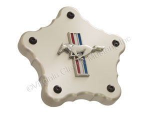 BILLET ALUMINUM WHEEL CENTER COVER FOR AMERICAN TORQ THRUSTS-WITH RUNNING HORSE EMBLEMS-SET OF 4