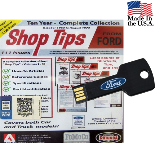 Ford Shop Tips - Complete Collection Volumes 1-11  -  Oct. 1963-Nov. 1973 USB Drive