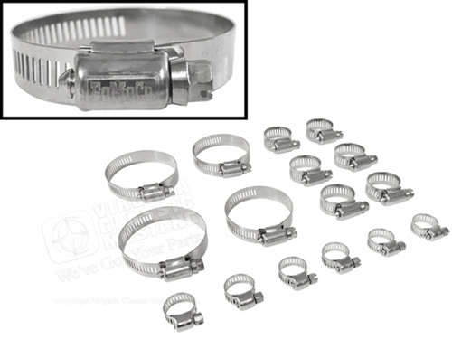 Stainless Steel FoMoCo Hose Clamp Set -  Small Block V8