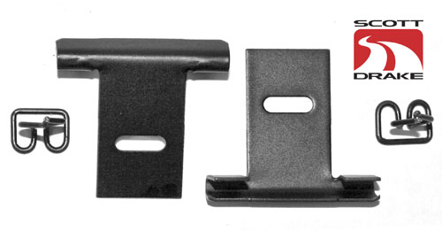 65-70 MUSTANG COUPE PACKAGE TRAY RETAINERS SET OF 2 WITH CLIPS