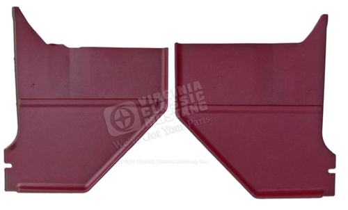66 Mustang Coupe/Fastback Kick Panels - Pair 66 Red - Show Quality 100% Exact Style