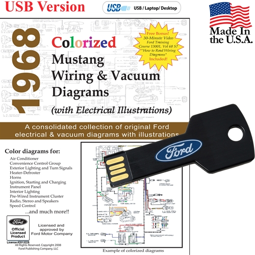 1968 Colorized Wiring and Vacuum Diagrams USB DriveVirginia Classic Mustang